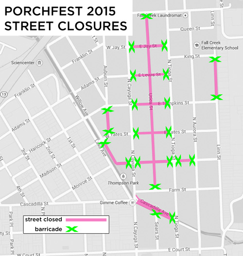 Porchfest 2015 street closures map